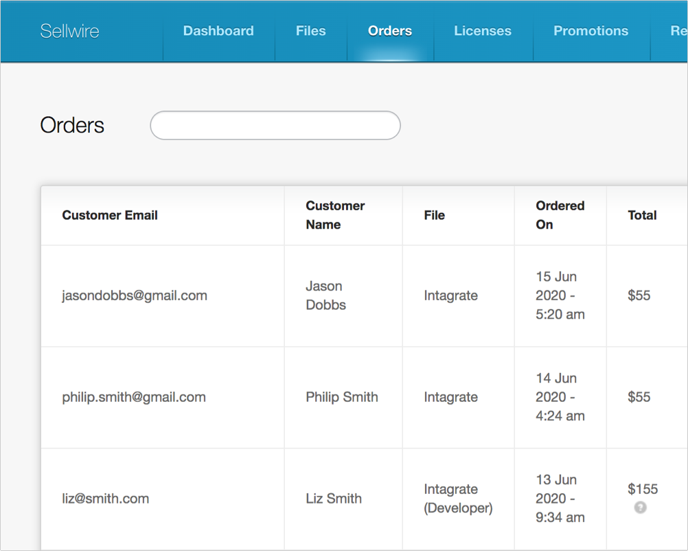 Orders screenshot