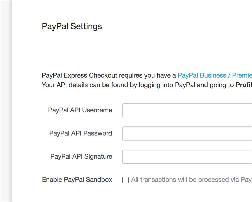 Payments settings screenshot